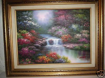 Jamesinfo Spring Brook Hand Painted Oil By C Jaffey Framed