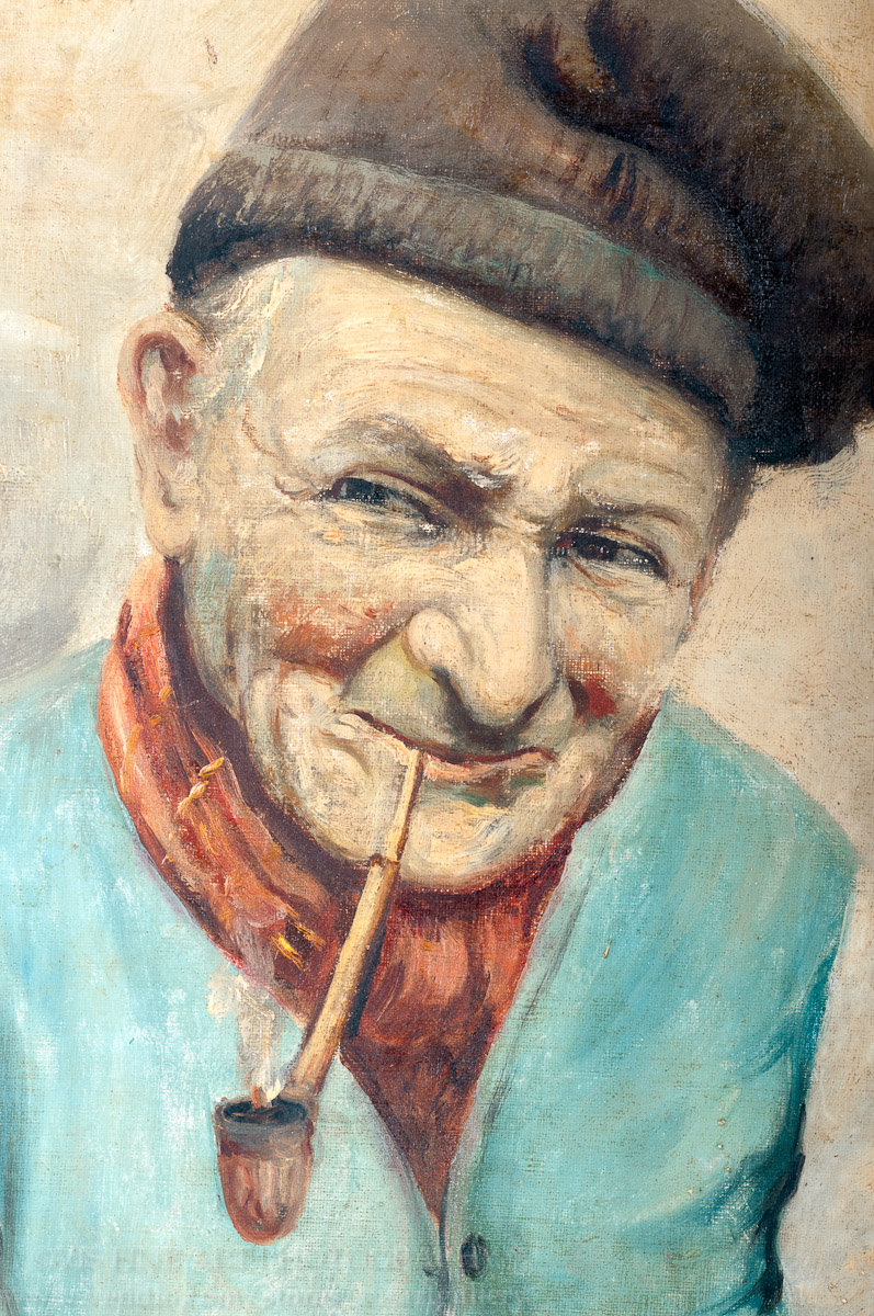 "How To Frame A Jersey >> VIS Fine Art Gallery : ""Old Man with Pipe"": Antique Oil ..."