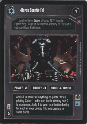 Baron Soontir Fel FOIL Death Star II Decipher Star