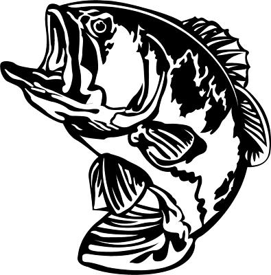 Bass Fishing Fish Decal Sticker You Pick Color Red