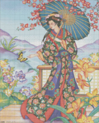 Elegant Geisha Hand Embroidery Pattern by isewcute by isewcute