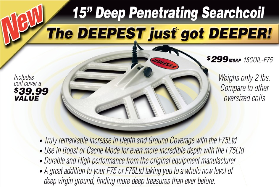 "Fisher 15"" DD Coil for F75 and F70 Detectors"