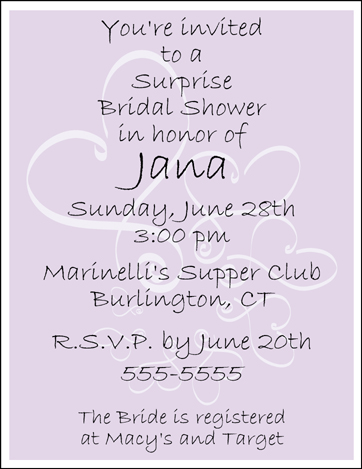 12 Personalized BRIDAL WEDDING SHOWER INVITATIONS Lavender Background
