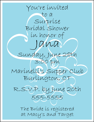 J S Graphics 12 Personalized BRIDAL WEDDING SHOWER INVITATIONS Blue
