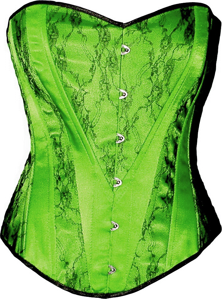 Green Satin Heart Shape Black Lace Brocade Victori