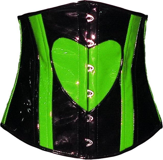 Heart Underbust Corset UV Neon Green