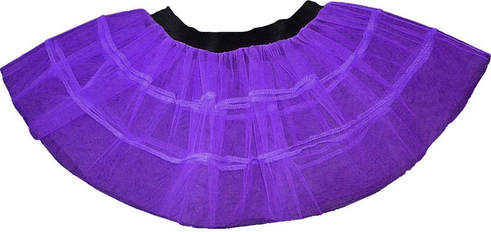 Purple  Plain V Stripe Petticoat Tutu Skirt double
