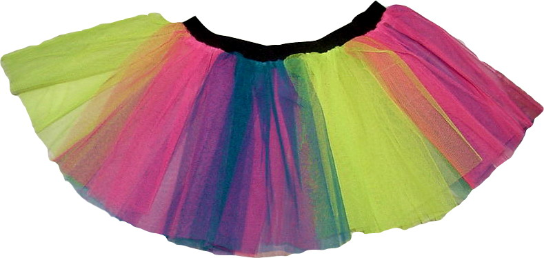 Rainbow multi tutu skirt blue hot pink yellow Neon
