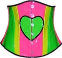 Heart Underbust Corset UV Neon Multi Color Hot pin