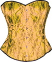 Yellow Satin Black Lace Brocade Victorian Corset O