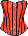Black Stripe Corset Overbust Basque Steel Busk UV