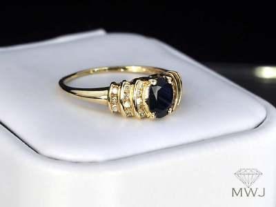 LEA LANE JEWELRY : 10k Yellow Gold .9 Earth Minded Sapphire \u0026 Diamond Ring