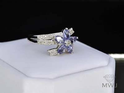 Lea Lane Jewelry 10k White Gold Ladies Blue Tanzanite