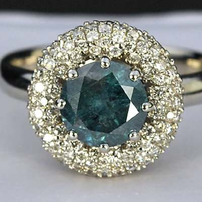 Blue Diamond Vintage Wedding Ring Sets