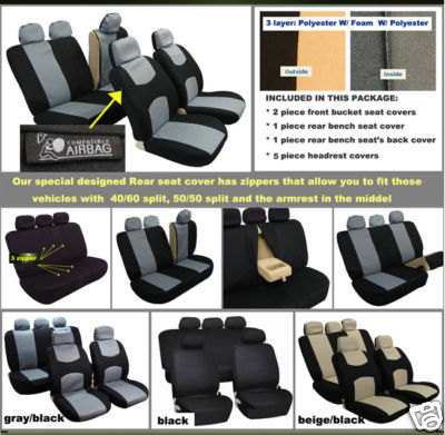 BESTFHCOM 2007 2009 BMW 328i Car Seat Cover Airbags
