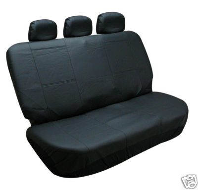BESTFHCOM Bench Car Seat Covers Leather Solid Black 3