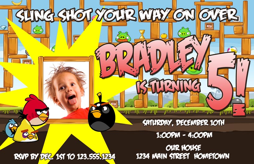 Personalized Photo Invitations – Angry Birds Party Invitations