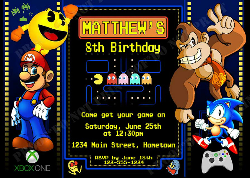 Personalized Printable Invitations Cmartistry Arcade Video Game