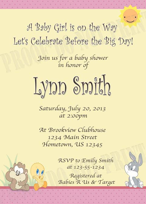 Personalized Printable Invitations Cmartistry Baby Looney Tunes