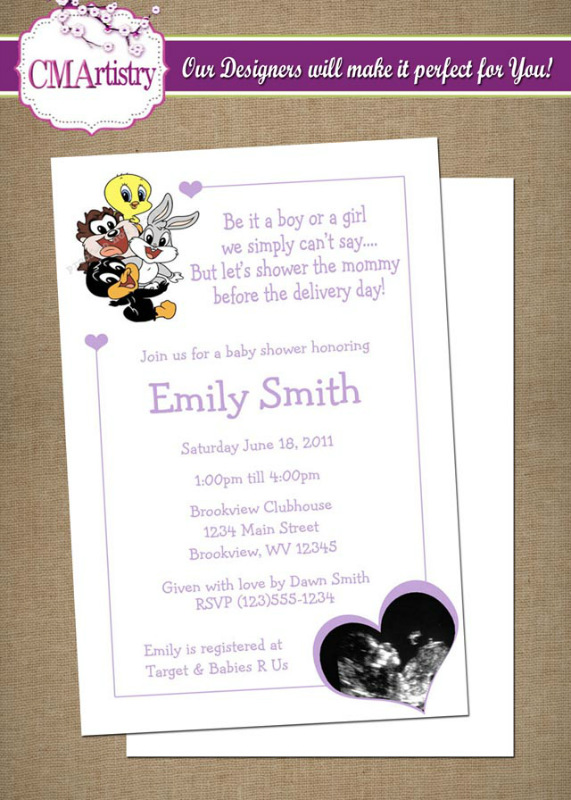 baby looney tunes shower sonogram heart invitations diy printable