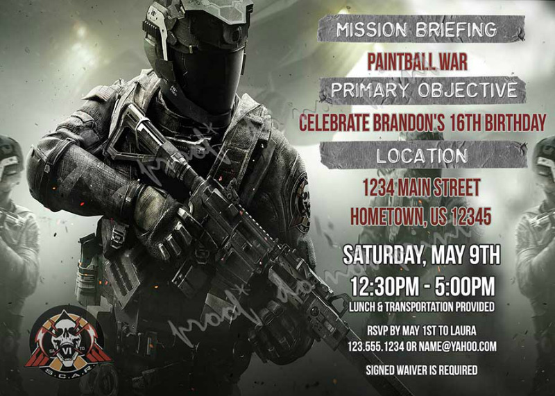Airsoft party invitation photo invitation airsoft war invitation airsoft call of duty infinite warfare party invitations diy printable paintball birthday invitations filmwisefo