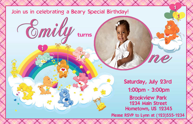 Personalized Photo Invitations – Care Bear Birthday Invitations