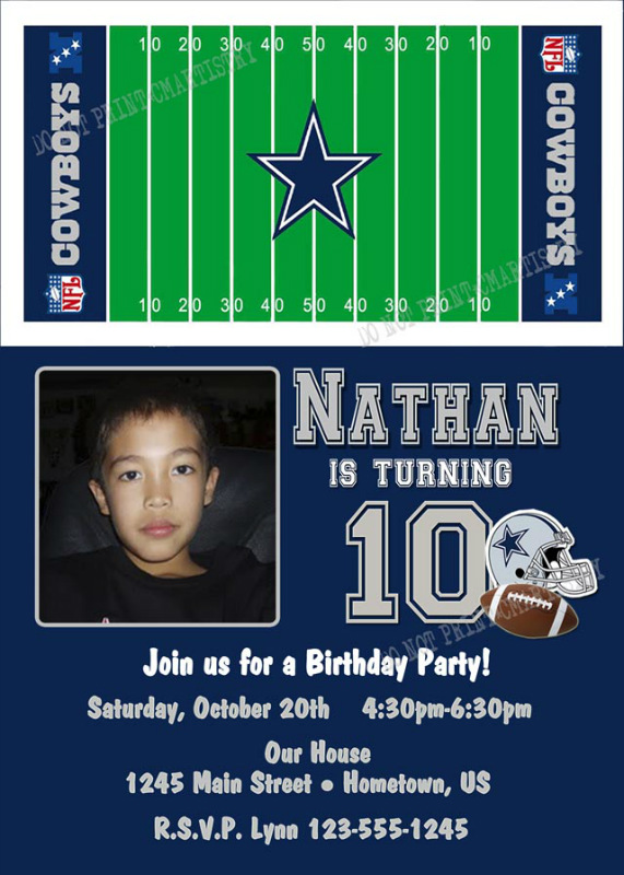Personalized printable invitations cmartistry personalized personalized dallas cowboys photo birthday party invitations diy printable filmwisefo