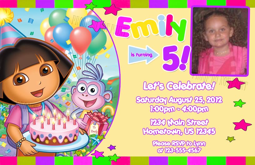 Personalized printable invitations cmartistry dora the explorer larger view filmwisefo Images