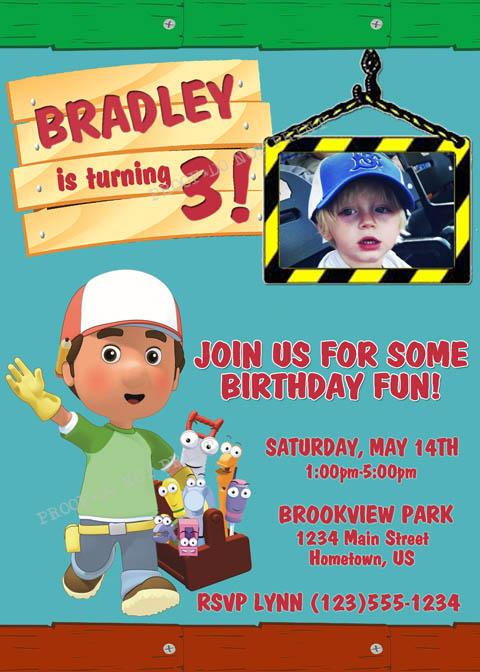 Personalized Photo Invitations – Handy Manny Party Invitations
