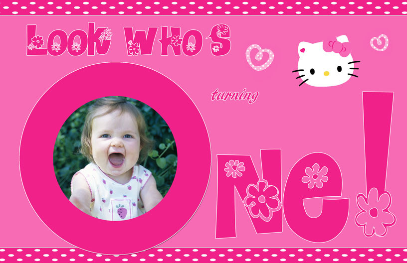 Personalized Photo Invitations – Personalized Hello Kitty Birthday Invitations