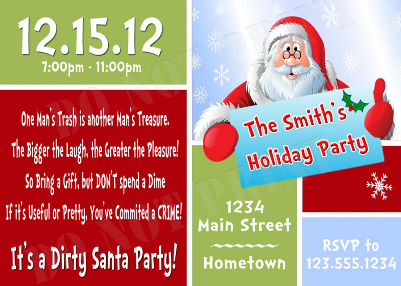 Secret Santa Holiday Party Invitations - DIY Printable
