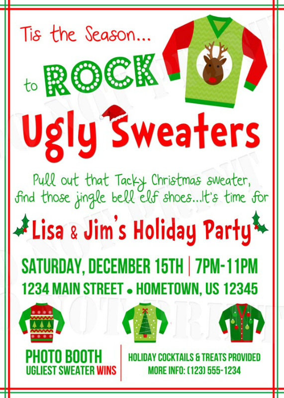 Ugly christmas sweater party invitation wording