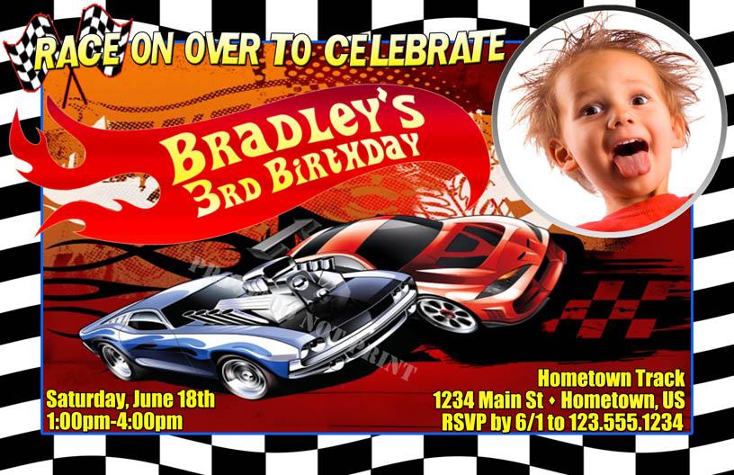 Personalized Photo Invitations Cmartistry Hot Wheels Birthday
