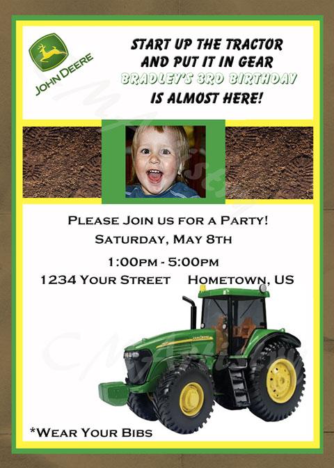 Personalized Photo Invitations – Printable John Deere Birthday Invitations