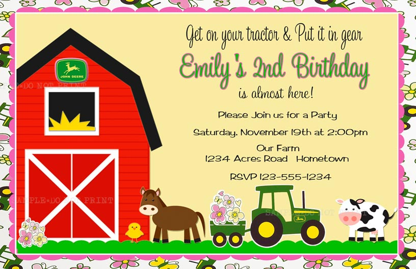 personalized photo invitations cmartistry john deere floral party invitations - John Deere Party Invitations
