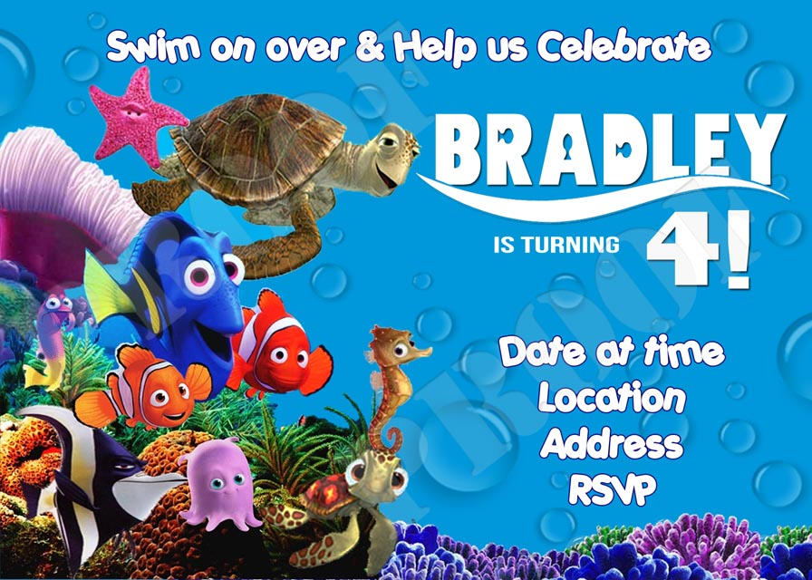 Personalized Printable Invitations Cmartistry Finding Nemo Dory