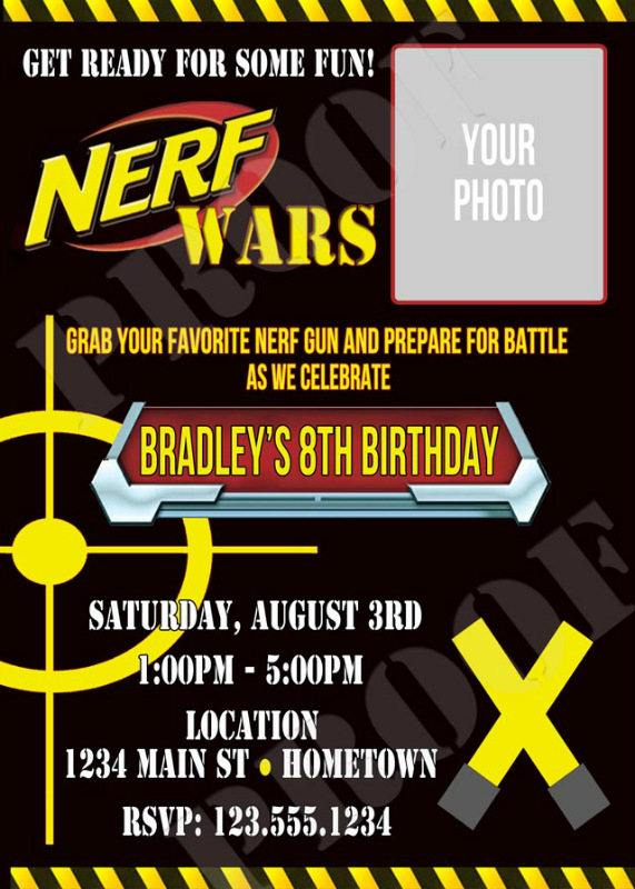 Free Printable Nerf Birthday Invitations ~ Personalized photo invitations cmartistry nerf gun war battle birthday party