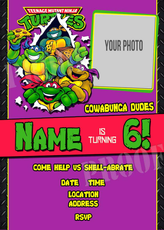 Personalized Printable Invitations Cmartistry Teenage Mutant