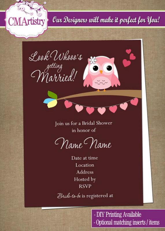 Owl Look Whooo's Bridal Shower Invitations - DIY Printable
