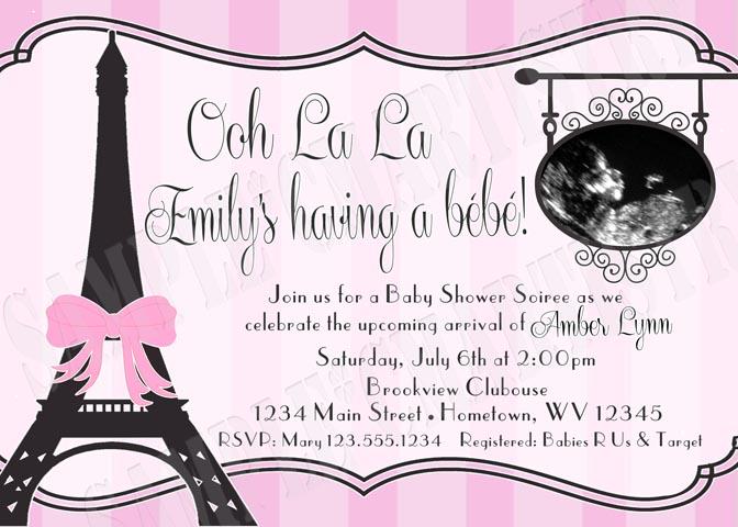 paris eiffel tower baby shower photo invitations diy printable