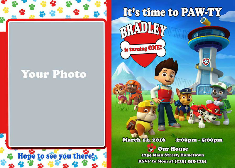 Printable Invitation Personalized For Your Paw Patrol Party T