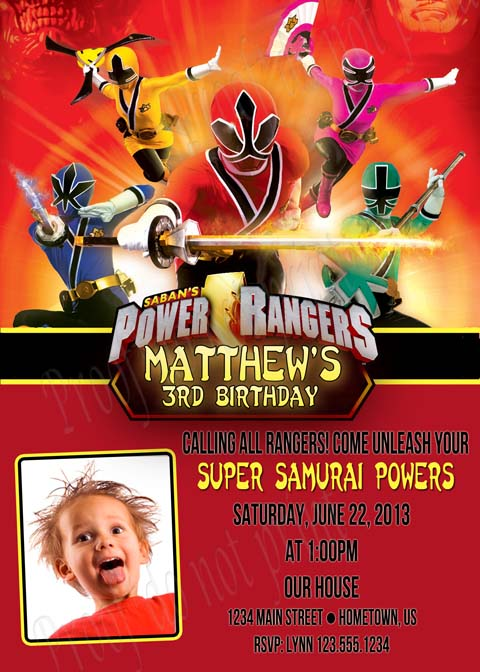 Personalized Photo Invitations – Power Rangers Party Invitations