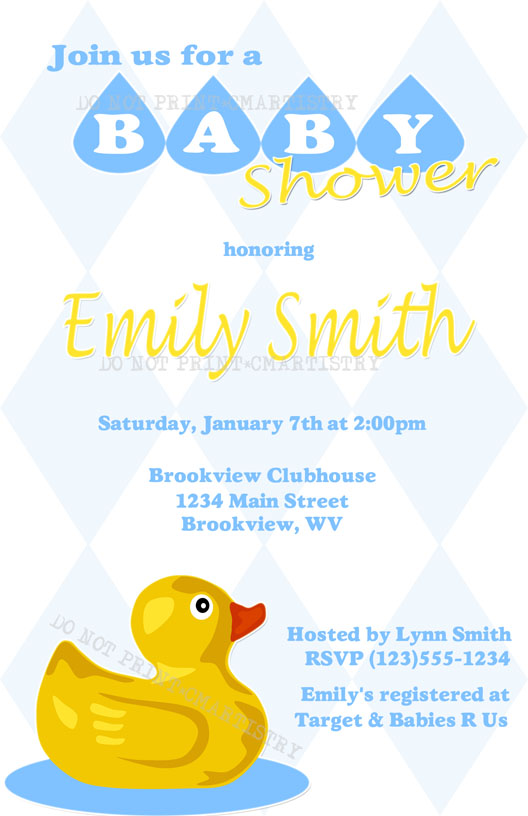 Personalized Photo Invitations Cmartistry Rubber Ducky Baby