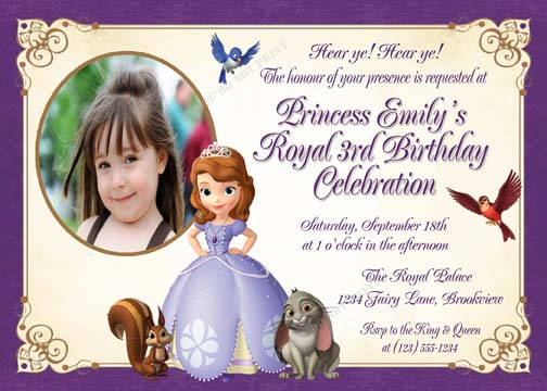 Personalized Printable Invitations | Cmartistry : Sofia the First Princess Birthday Party ...