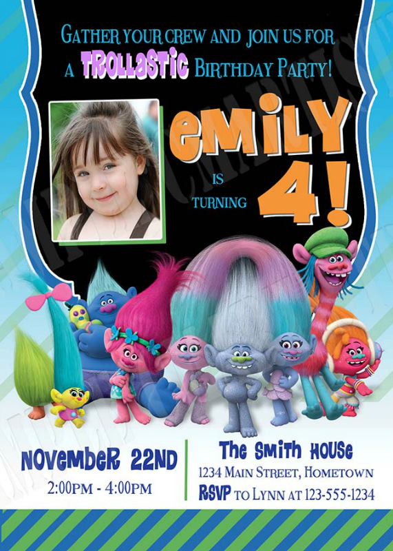 Personalized Trolls The Movie Birthday Party Invitations