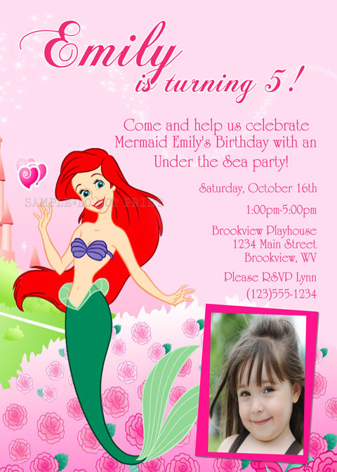 Personalized printable invitations cmartistry ariel little larger view filmwisefo Gallery