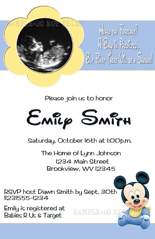 photo invitations cmartistry baby mickey mouse ultrasound shower