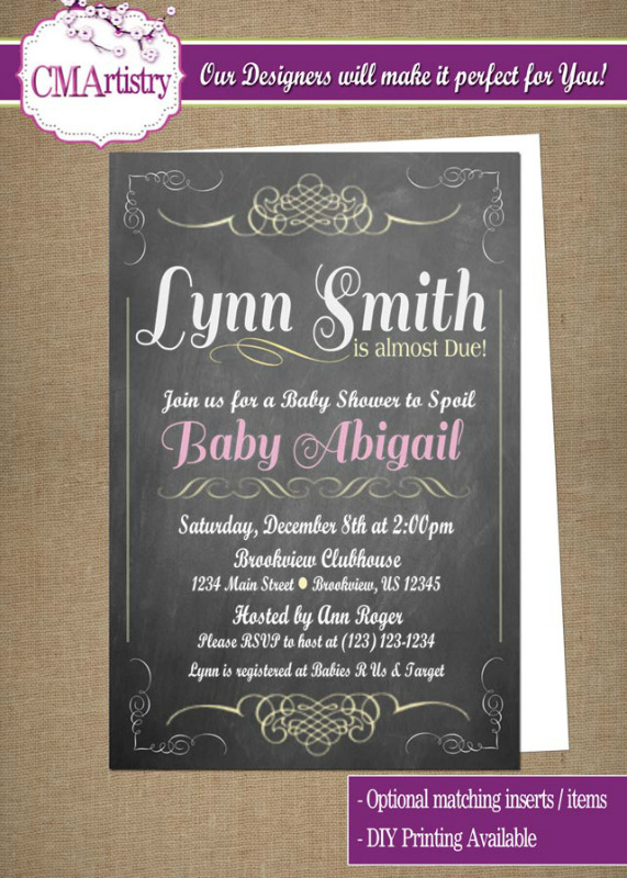 personalized photo invitations  cmartistry  personalized scroll, Baby shower invitations