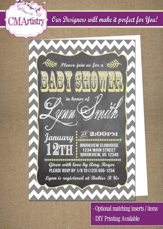 personalized photo invitations  cmartistry  personalized chevron, Baby shower invitations