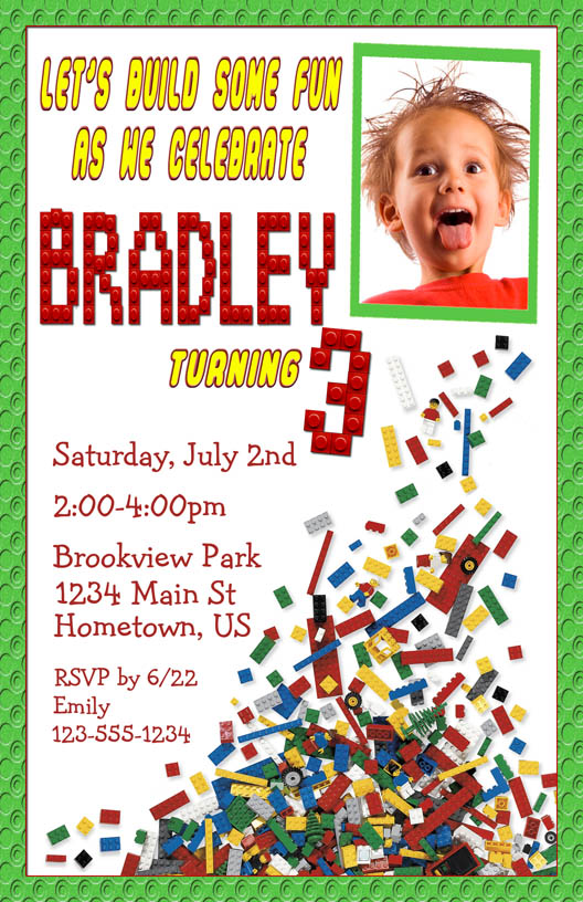 Personalized Photo Invitations Cmartistry Lego Party Photo